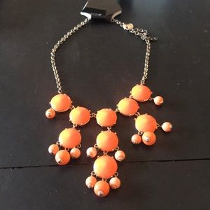 J crew neon orange statement necklace